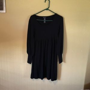 Black Sweater Dress with Bell Type Sleeves